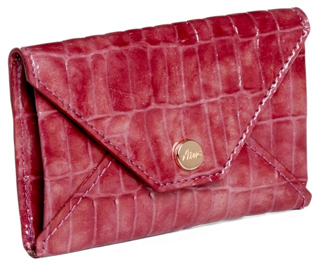 Croc Embossed Envelope Card Case, Wine