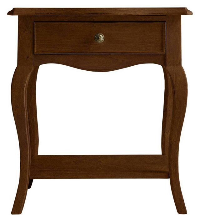 Abby 1-Drawer Night Table, Brown