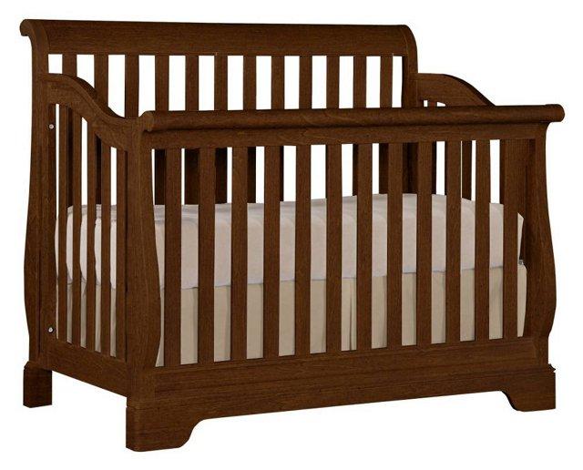 Built To Grow Sleigh Crib, Rustic Brown