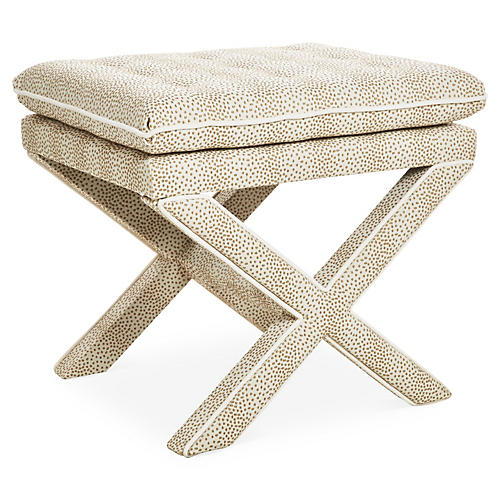 Dalton Pillow-Top Ottoman, Beige Dots
