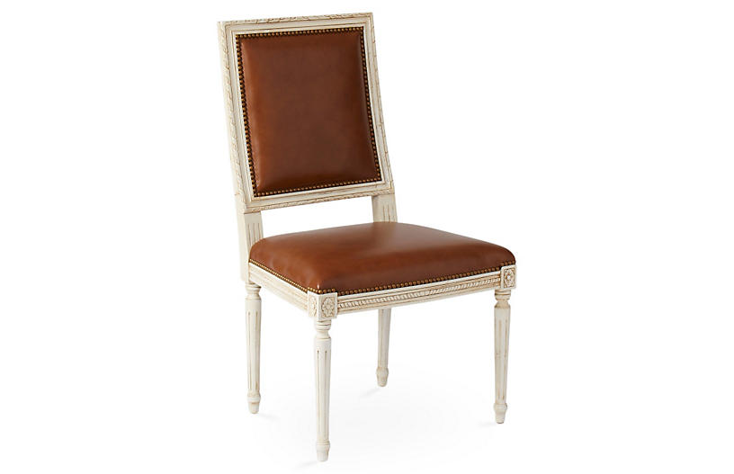 Exeter Side Chair, Saddle Leather