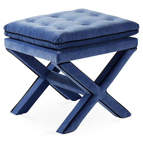 Dalton Pillow-Top Ottoman, Cobalt/Navy