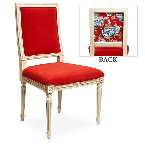 Exeter Side Chair, Pimento Velvet
