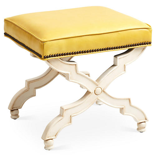 Hampton Ottoman, Yellow Leather