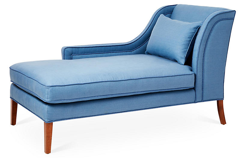 Roslin Left-Facing Chaise, Chambray Linen