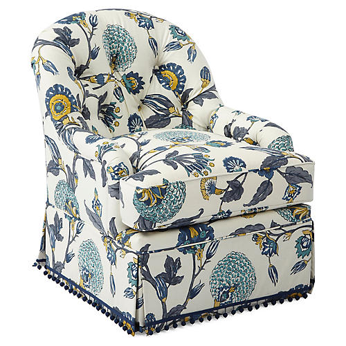 Marlowe Swivel Accent Chair, Painted Floral