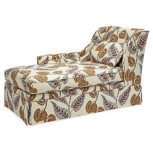 Roslin Left-Facing Skirted Chaise, Winter Vine