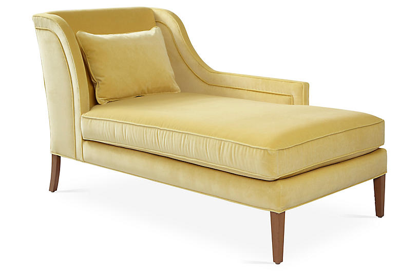 Roslin Right-Facing Chaise, Canary Velvet