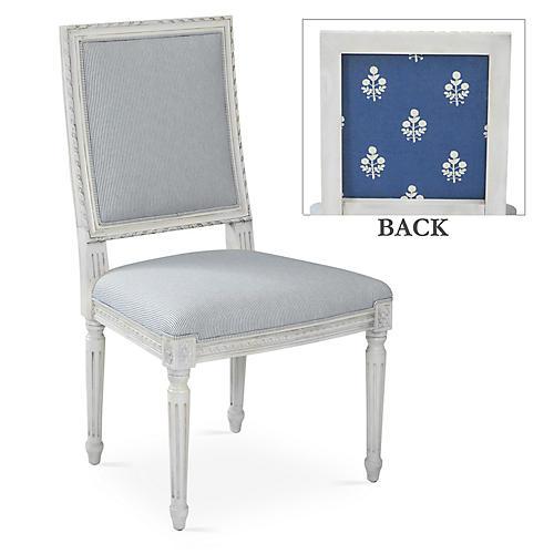 Exeter Side Chair, Bluebell/Stripe