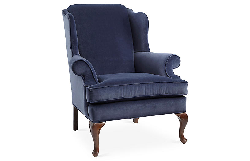 Alstead Wingback Chair, Navy Velvet