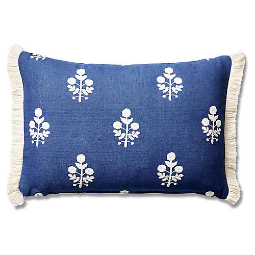 Nomi 12x18 Lumbar Pillow, Bluebell Linen