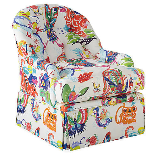 Marlowe Swivel Club Chair, Imperial Dragon