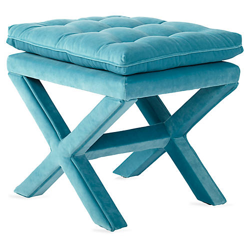 Dalton Pillow-Top Ottoman, Teal Velvet