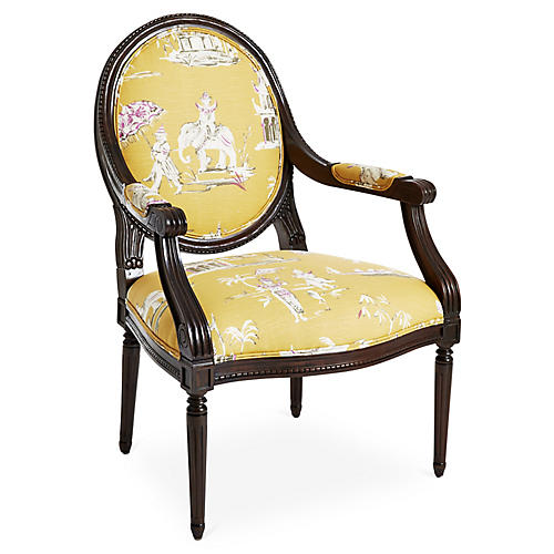 Darcy Armchair, Yellow Chinoiserie