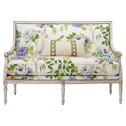 James Settee, White/Lemon