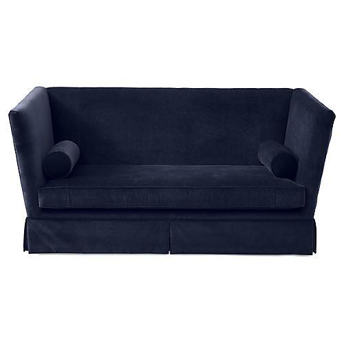 Carlisle Skirted Sofa, Navy Velvet