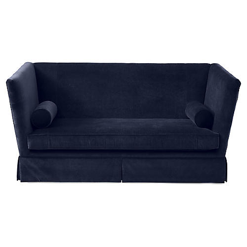Carlisle Skirted Sofa, Navy Velvet