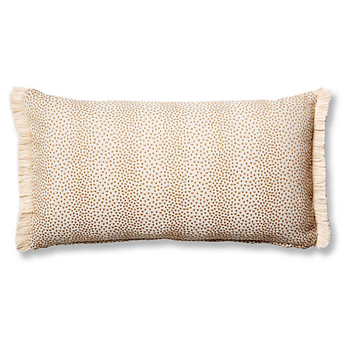 Imogen 12x23 Lumbar Pillow, Beige Dots
