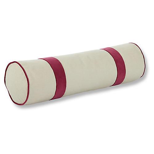 Marion 7x27 Bolster Pillow, Cream/Berry Linen