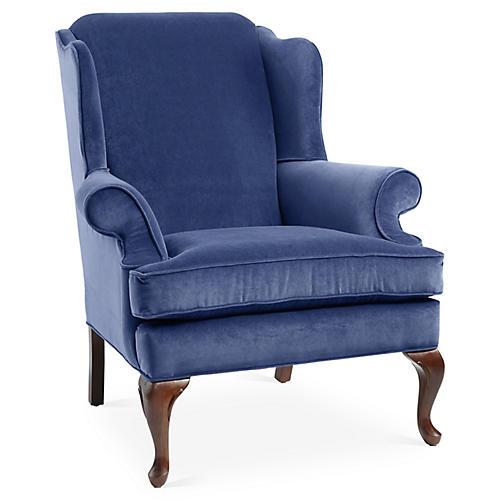 Alstead Wingback Chair, Cobalt Velvet