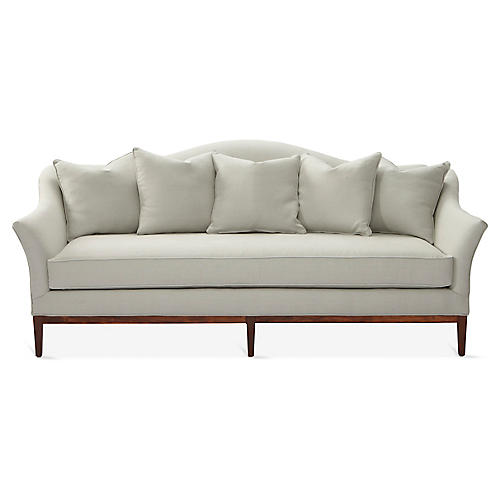 Eloise Camelback Sofa, Sea Glass Linen