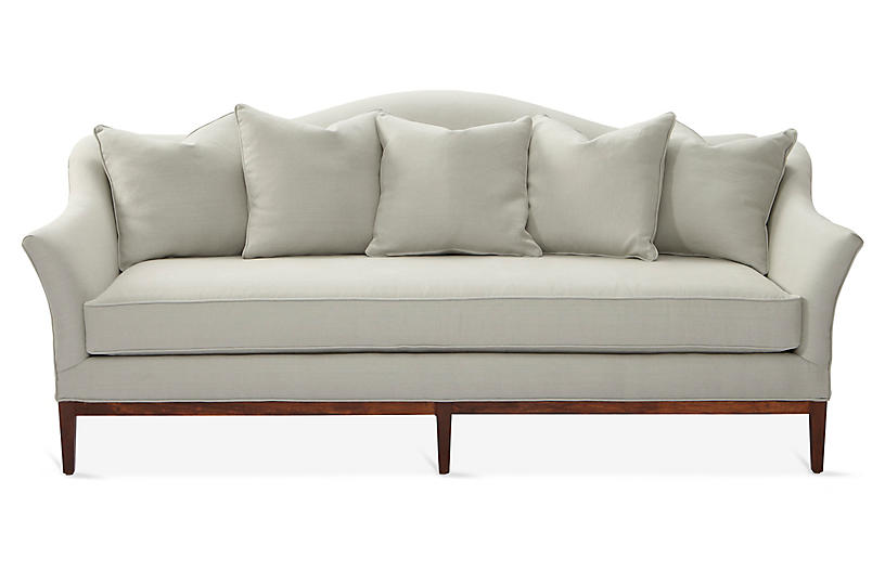 Eloise Camelback Sofa, Sea Glass Linen