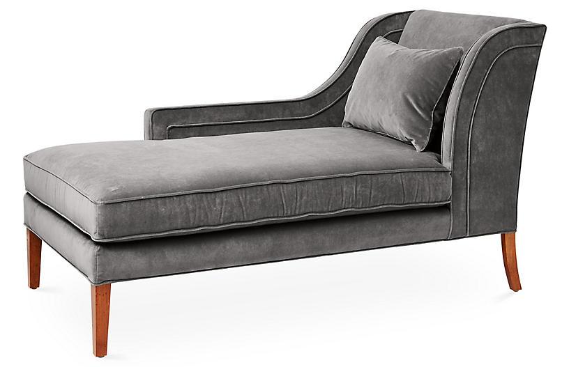Roslin Left-Facing Chaise, Light Gray Velvet