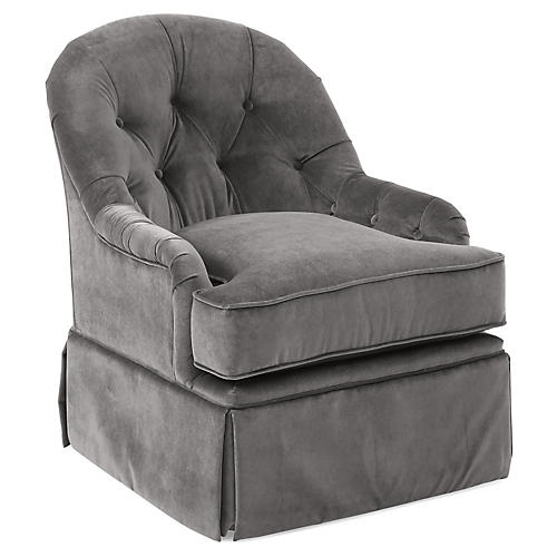 Marlowe Swivel Club Chair, Light Gray Velvet