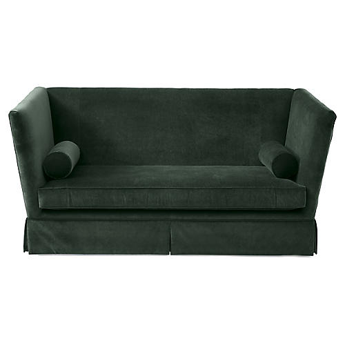 Carlisle Skirted Sofa, Forest Velvet