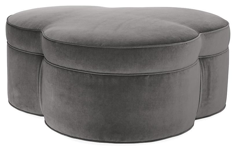 Portsmouth Upholstered Ottoman, Light Gray Velvet
