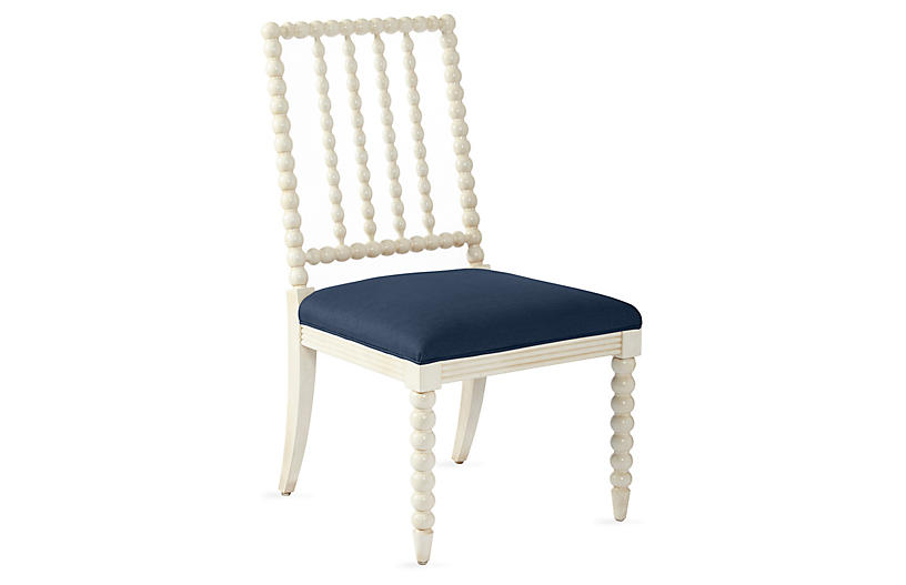 Barton Spindle Side Chair, Ivory/Navy Linen