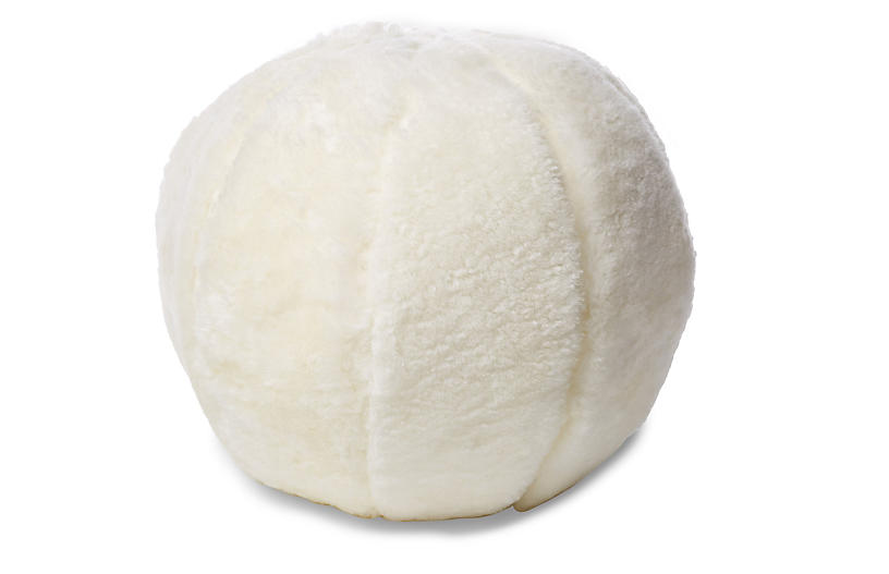Rae 12x12 Ball Pillow, Ivory Shearling