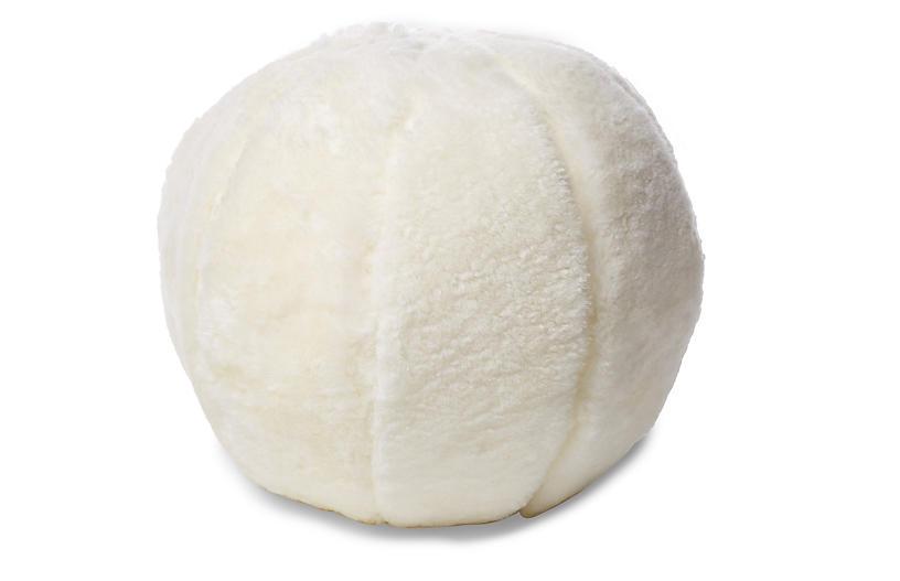 Rae 12x12 Ball Pillow, Ivory Shearling