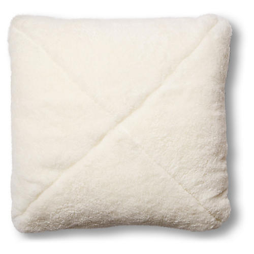 Rae 19x19 Pillow, Ivory Shearling/Saddle