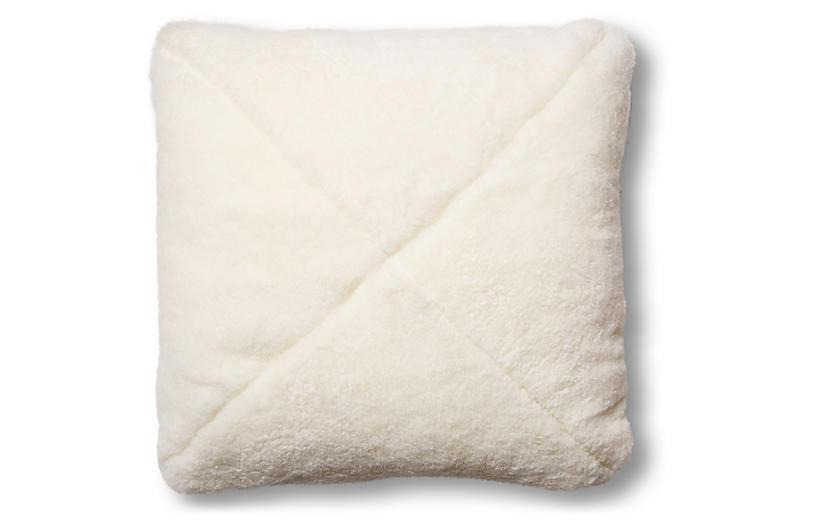 Rae 19x19 Pillow, Ivory Shearling/Saddle