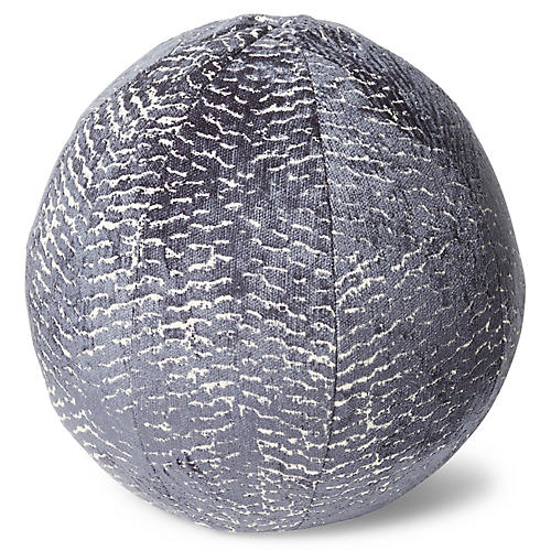 Paige 11x11 Ball Pillow, Steel Blue Chenille