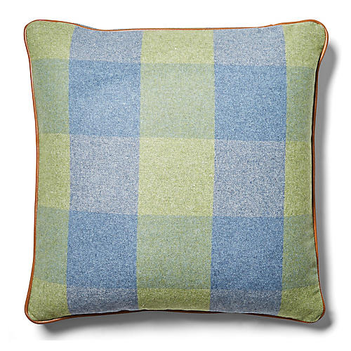 Teagan Plaid Pillow, Denim/Fern