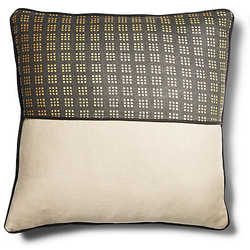 Wallace 19x19 Pillow, Black/Dune Linen