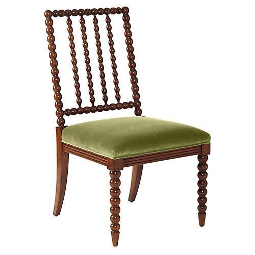 Barton Spindle Side Chair, Chestnut/Moss Velvet