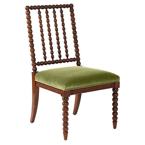 Barton Spindle Side Chair, Chestnut/Moss Velvet