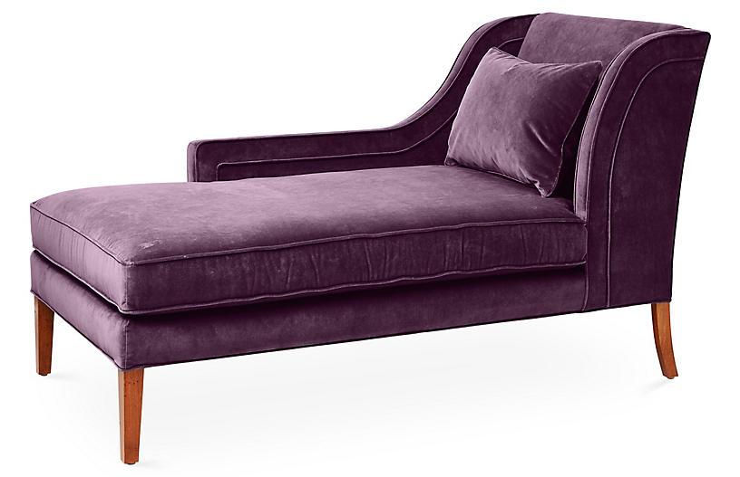 Roslin Left-Facing Chaise, Fig Velvet