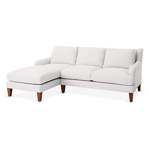 Merrimack Left-Facing Sectional, White Linen