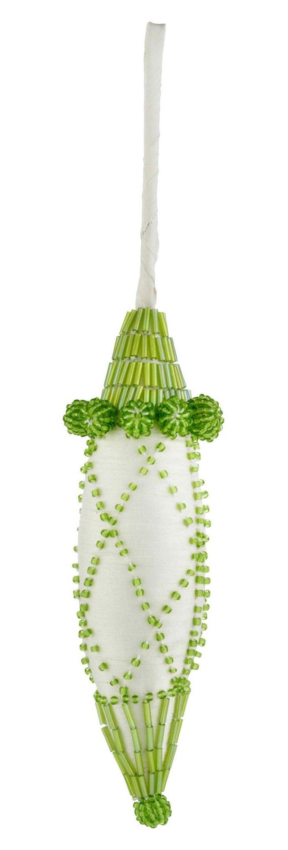 Silk Ornament w/ Beading, Green/Ivory