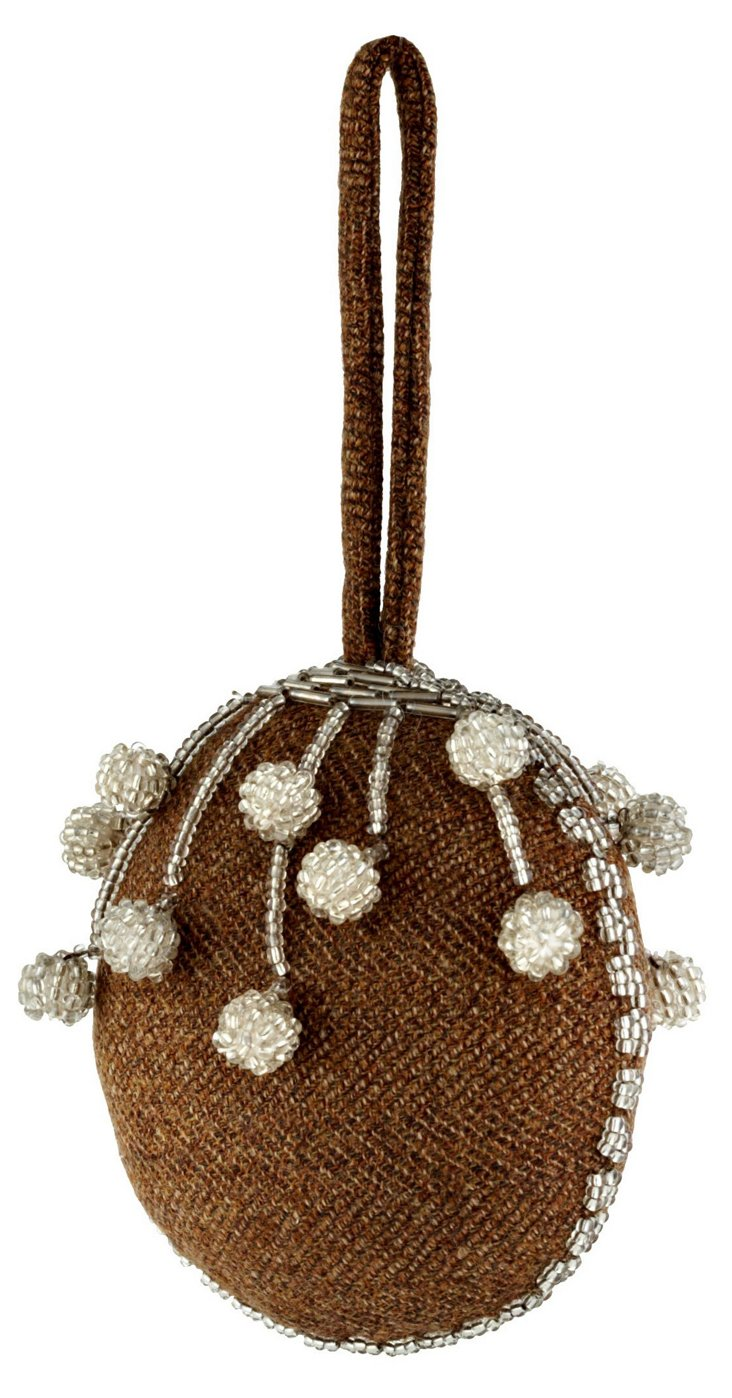 Wool Ornament w/ Beading, Brown/Silver