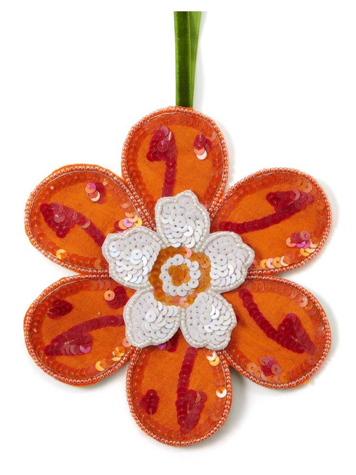 Sequined Flower Ornament, Orange/Pink