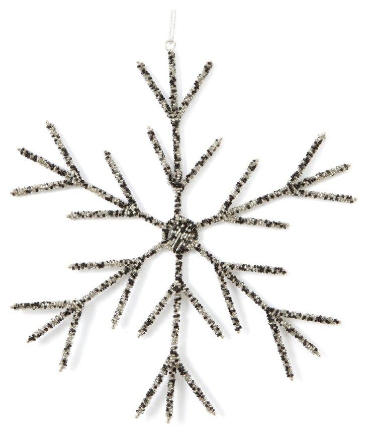 """12"""" Snowflake Ornament, Black/Silver"""