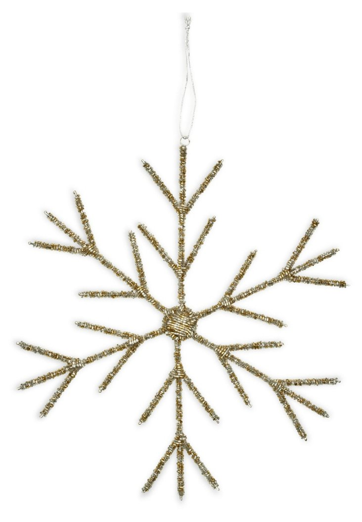 "12"" Snowflake Ornament, Gold"