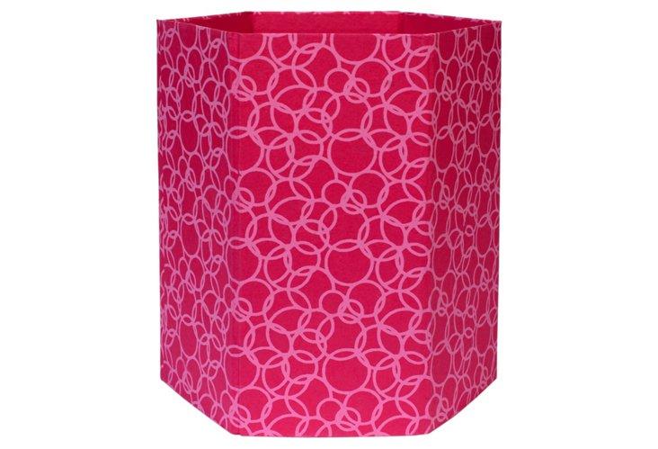 Wastepaper Basket, Pink Circles