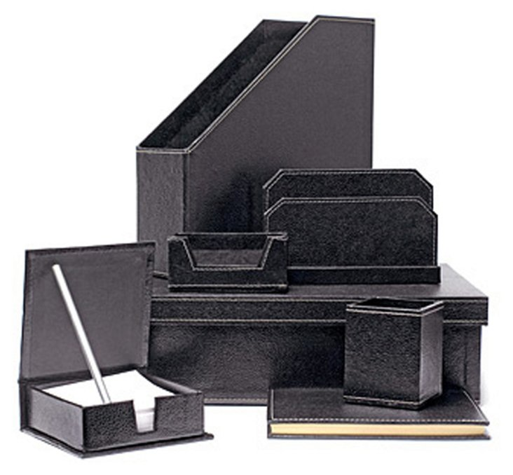 7-Piece Desk Set, Black