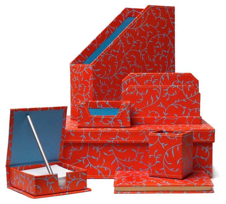 7-Piece Desk Set, Orange & Turquoise